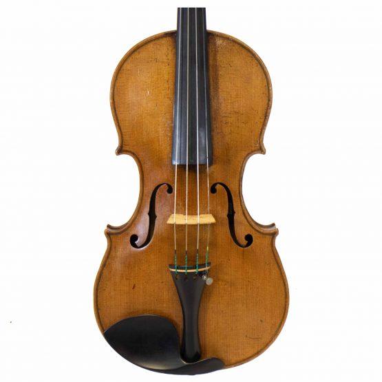 1919 Violin labelled Ansaldo Poggi by G. Cunault front body
