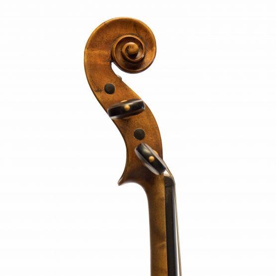 1919 Violin labelled Ansaldo Poggi by G. Cunault scroll
